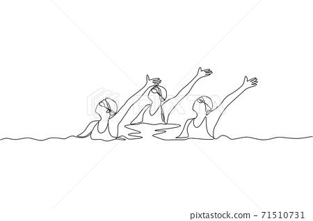 Single continuous line drawing of young sportive women perform beautiful synchronized swimming choreography. Group water sport competition concept. Trendy one line draw design vector illustration 71510731