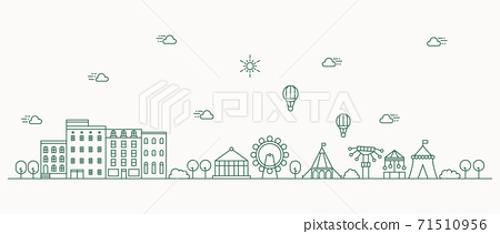 Urban landscape with a thin line style. Cityscape flat line design. Vector illustration. 71510956