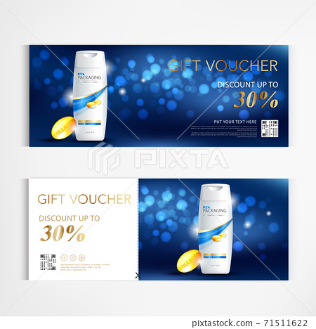 Gift voucher shampoo for annual sale blue packaging template vector design EPS10. 71511622
