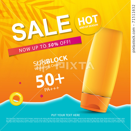Sunblock ads template or sale of season, sun protection cosmetic products design with moisturizer cream or liquid, sparkling background with glitter polka, vector design EPS10. 71511632