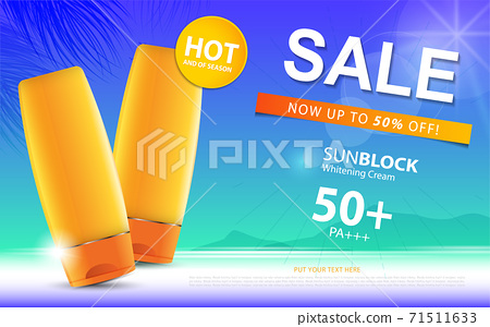 Sunblock ads template or sale of season, sun protection cosmetic products design with moisturizer cream or liquid, sparkling background with glitter polka, vector design EPS10. 71511633