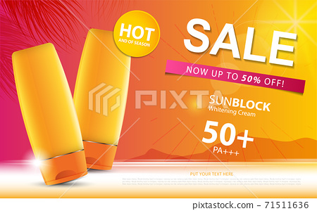 Sunblock ads template or sale of season, sun protection cosmetic products design with moisturizer cream or liquid, sparkling background with glitter polka, vector design EPS10. 71511636