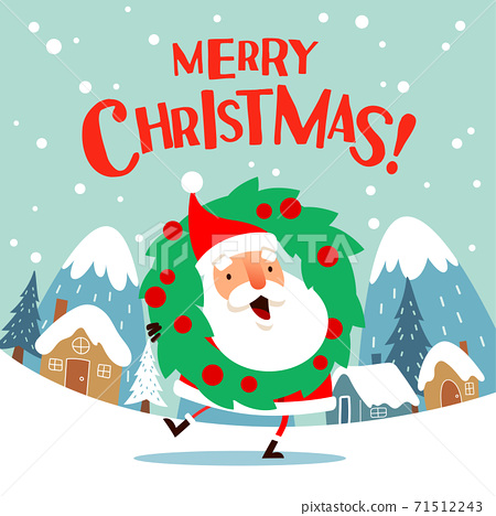 Santa Claus with a Christmas wreath. 71512243