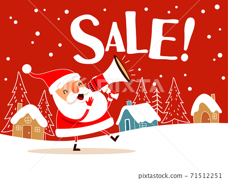 Santa Claus making sale announcement with megaphone. 71512251