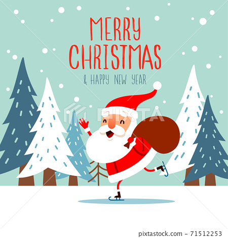 Santa Claus skating with a Christmas sack. 71512253