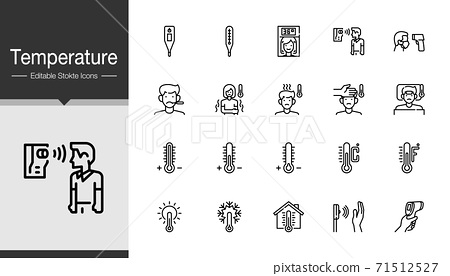 Temperature icons. Modern line design.  71512527