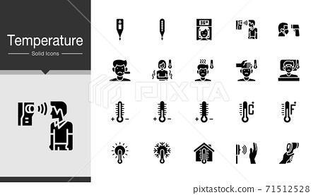 Temperature icons. Solid design. 71512528