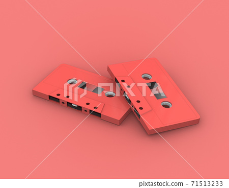 audio music retro cassette tapes on red color , 3d rendering 71513233