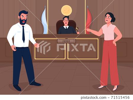 Law court session flat color vector illustration 71515456