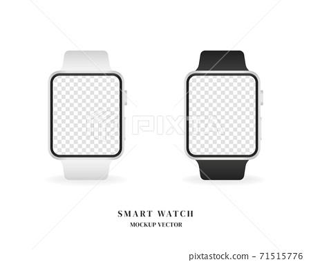 Smart watch mockup set. Blank Smart watch mockup vector isolated on white background. Mockup vector isolated. Template design. Realistic vector illustration. 71515776