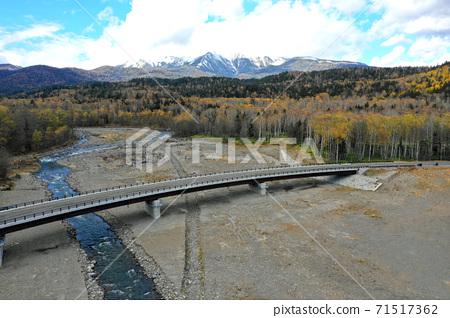 Aerial view of the Holokai Shikari River and the lakeside bridge 71517362