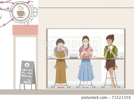 婦女在咖啡館制定旅行計劃 71521358