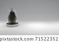 Christmas tree in glass cover on gray background. 3D illustration 71522352