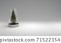 Christmas tree in glass cover on gray background. 3D illustration 71522354