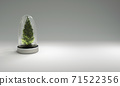 Christmas tree in glass cover on gray background. 3D illustration 71522356