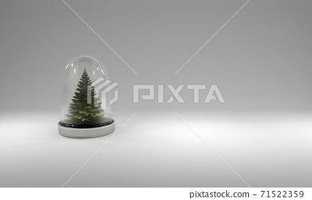 Christmas tree in glass cover on gray background. 3D illustration 71522359