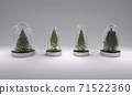 Christmas trees in glass covers on gray background. 3D illustration 71522360