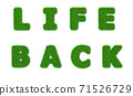 Life back grass inscription saying the end of the Covid 19 quarantine period.  71526729