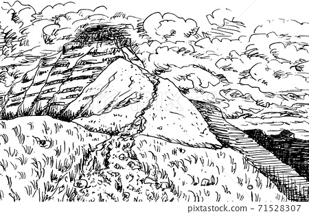Rocky trail on the top of Pen Y Fan peak in Wales 71528307