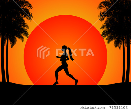 The silhouette of the running woman in the sunset. 71531108