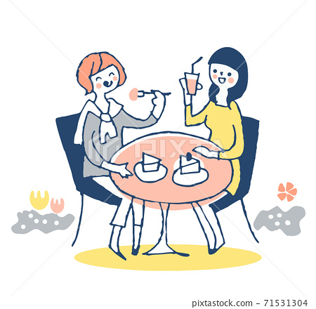 兩個年輕女子在一家開放式咖啡館放鬆 71531304