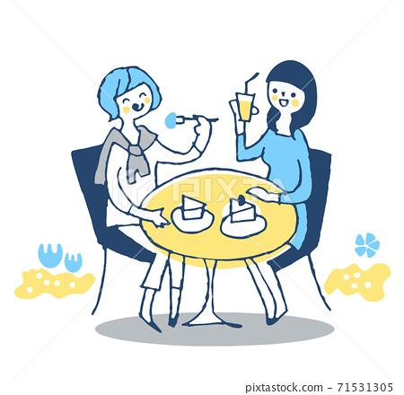 兩個年輕女子在一家開放式咖啡館放鬆 71531305