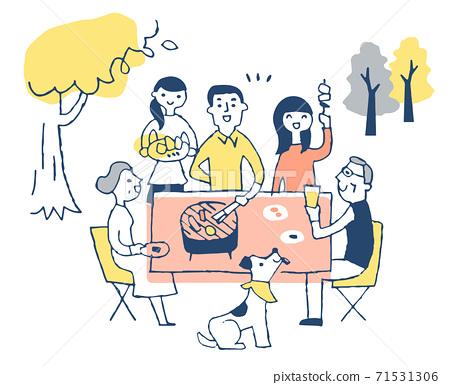 家人在戶外享受燒烤 71531306