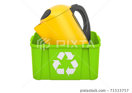 Recycling trashcan with electric kettle, 3D rendering 71533757