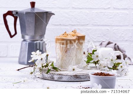 Dalgona whipped coffee with milk 71534067