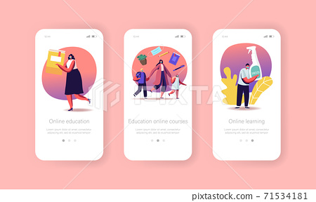 Back to School Coronavirus Pandemic Mobile App Page Onboard Screen Template. Tiny Characters Online Education Concept 71534181