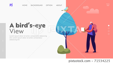 Ornithologist Observing Bird Landing Page Template. Female Character Writing Notes while Watching Bird, Birdwatching 71534225