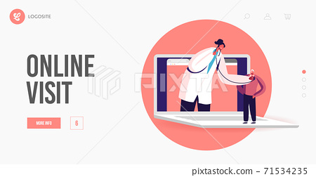 Healthcare Service Hi-Tech Smart Technology Landing Page Template. Doctor Character on Huge Laptop Listen Patient Heart 71534235