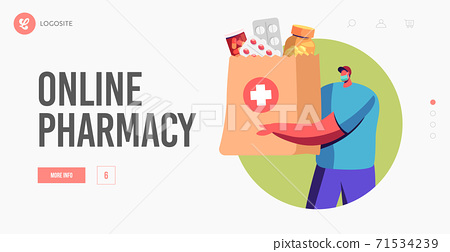 Drugs Delivery Service Online Pharmacy, Drugstore Landing Page Template. Volunteer, Courier Deliver Medicines to Clients 71534239