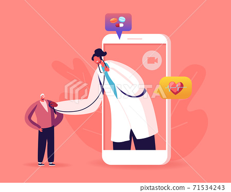 Online Healthcare Service. Doctor in White Coat on Big Smartphone Screen Listen Patient Heart Beating with Stethoscope 71534243