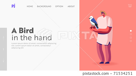 Ornithologist Occupation Landing Page Template. Man Bird Owner or Birdwatcher with Pet. Man Releases Bird in Flight 71534251