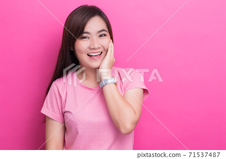 Asian woman is happy on isolaed background 71537487