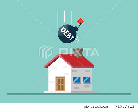 house with debt bomb, home loan concept 71537513