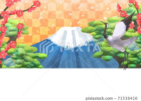 소나무와 후지산과 매화와 학 일러스트, 연하장 크기 71538410