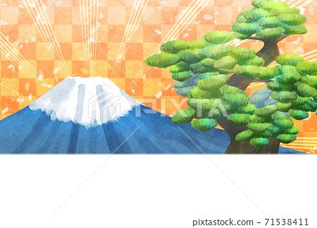 소나무와 후지산의 일러스트, 연하장 크기 71538411