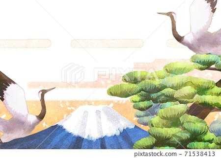 학과 후지산과 소나무 일러스트, 연하장 71538413