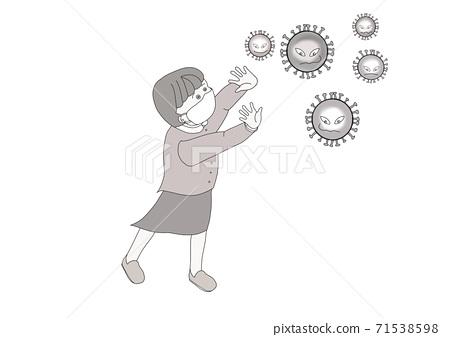 코로나 바이러스를 피하고 싶은 소녀의 흑백 일러스트 71538598