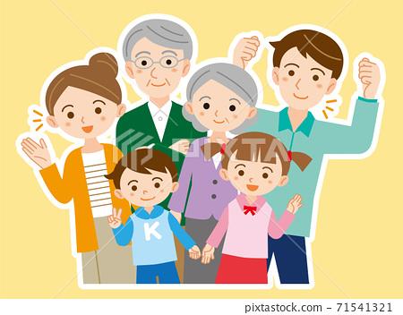 단짝 3 세대 6 명의 가족 일러스트 / 흰색 경계선 71541321