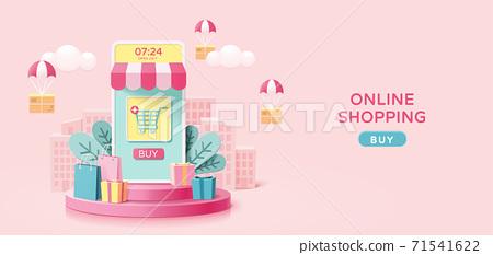 Online shopping flat design 71541622