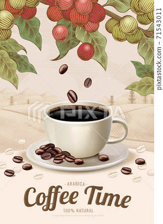 Engraving style black coffee ads 71543011