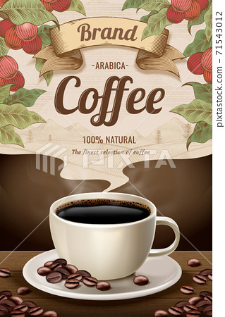 Engraving style black coffee ads 71543012