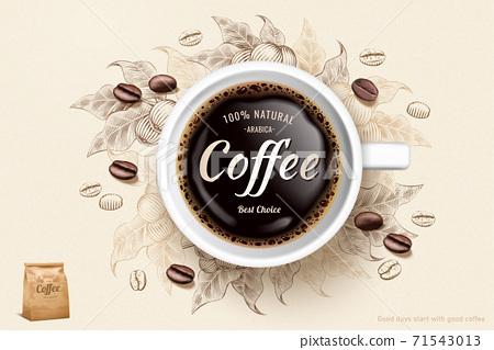 Engraving black coffee ads 71543013