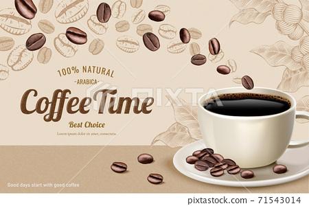 Engraving black coffee ads 71543014