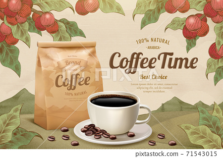 Engraving style black coffee ads 71543015