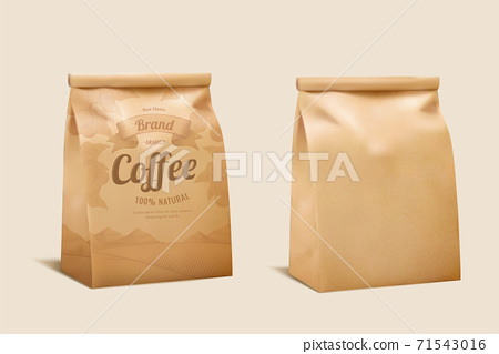 Coffee bean paper package mockup 71543016