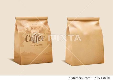 Coffee bean paper package mockup 71543016
